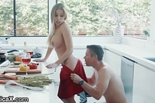 Beautiful and hot blonde fucking in the kitchen