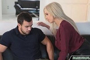 Blonde babe having sex with husband's friend