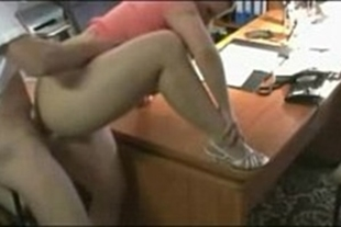 Blonde caught having sex with her boss in the office