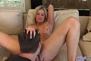 Blonde hot MILF in oral sex on young boy