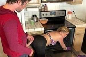 Blonde Naked Woman In The Kitchen Fucking