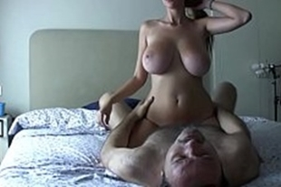 Busty brunette riding on the shaft of the shaft