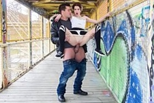 Having sex outdoors with the naughty kitten