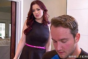 Hot babe taking cock in pussy in red-haired brazzers