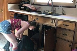 Hot white girl fucking with the plumber