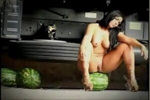 Naked Watermelon Woman Showing Her Pussy