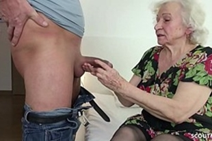 Naughty guy fucking old woman for money