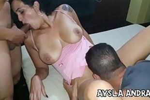 Naughty hot teacher having sex with two at the motel
