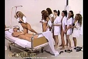 Naughty nurses lining up to sit on the patient's cock