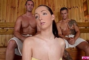 Porn in the sauna with a busty blonde