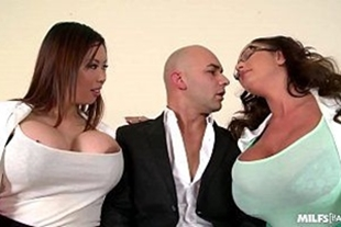 Porn video of two women and a man fucking at work