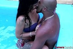 Sex in the pool with a big black man