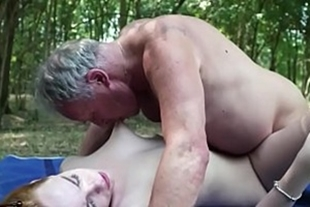 Sex with dirty old man in the woods