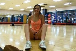 Showing pussy at the gym to his pumped friend