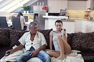 Teen slut having sex with her father-in-law