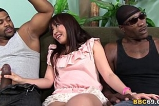 The best xxx video with brunette and two black guys