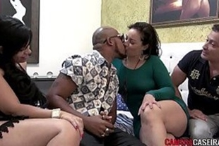 Two Brazilian couples having sex in the same bed