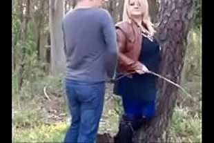Very hot mature woman fucking in the woods