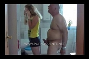 of slutty Family with stepfather punching the stepdaughter